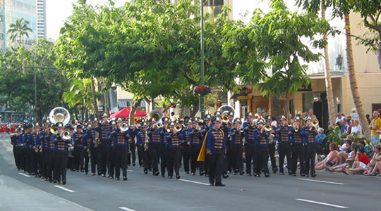 Salinas High School Band California in Hawaii Parades